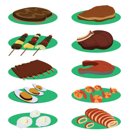 t bone steak: Set of Grill Steak and barbecue Cuisine Menu Vectors Illustration