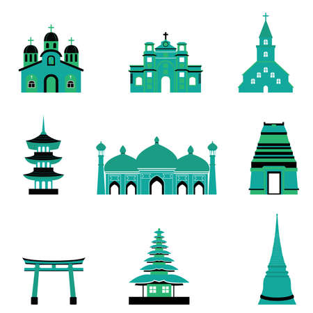 Set of Church Temple Mosque Religion Building and Architecture vectors Vector