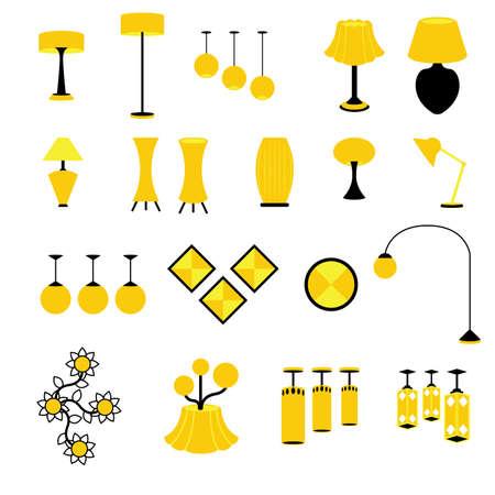 осветительное оборудование: Набор ламп и осветительного оборудования векторы и иконки Иллюстрация