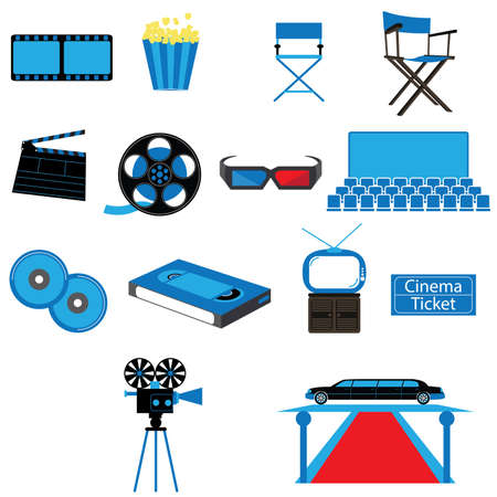 Set of Film Movies Cinema and Entertainment Vectors and Icons Vector