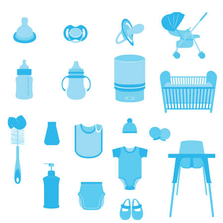 child care: Set of Many Baby Care and Child Equipment Vectors and Icons