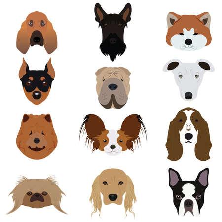 chart: Ustaw i rodzaj wielu wektorów i ikony Dog Ilustracja