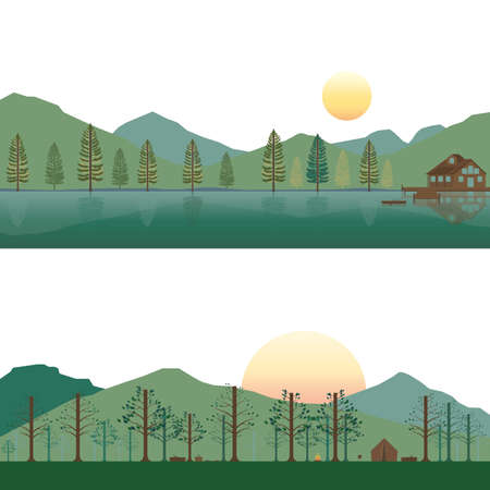 Set of Cabin on Lake and Camping on Mountain in Summer and Spring Landscape