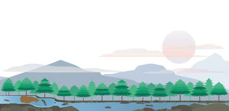 Bear and Salmon in the Great Lake Landscape Vector
