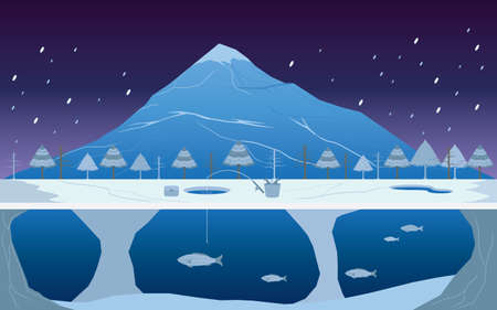 deep drilling: Fishing on Ice in Winter Landscape