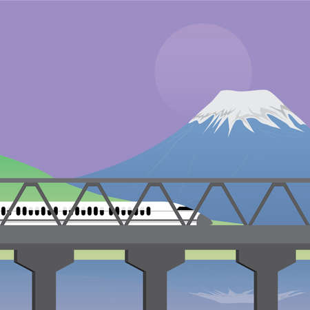 treno espresso: Express Train attraverso Bridge e Mountain