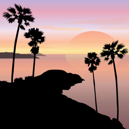 beach scene: Sunset and Sunrise Cape Landscape