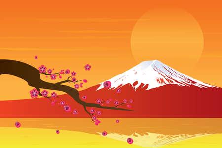 fuji mountain: Sunset Fuji Mountain and Cherry Blossom