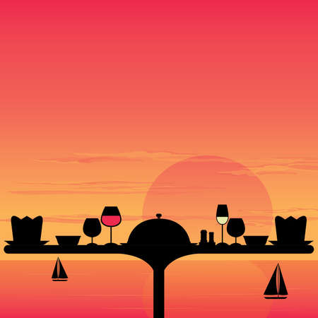 outdoor dining: Dinner Sunset on the beach