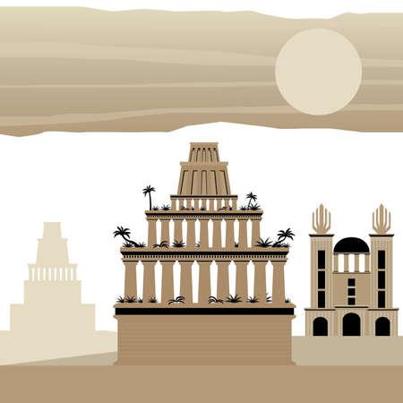 7 Wonder of the world Ancient Babylon Иллюстрация