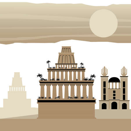 7 Wonder of the world Ancient Babylon Stock Illustratie
