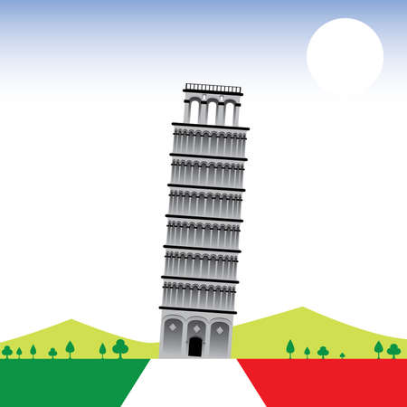 wonder: 7 Wonder of the world The Leaning Tower Illustration