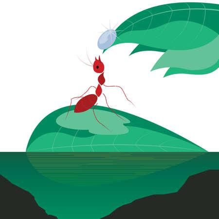 macro nature: Ant on the green leaf Illustration