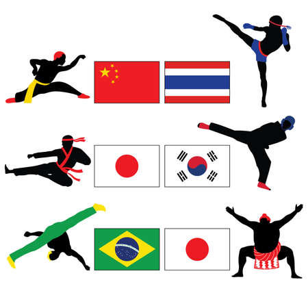 fighting: Set of Fighting and Asian Martial Arts Vector