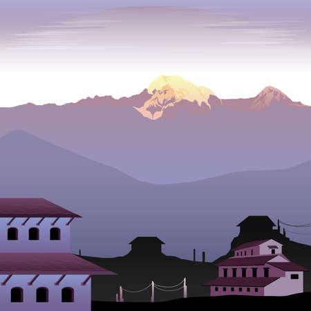 buliding: Everest and Nepal Landscape Illustration