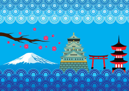 spring in japan: Japan Landmark and Culture Vector