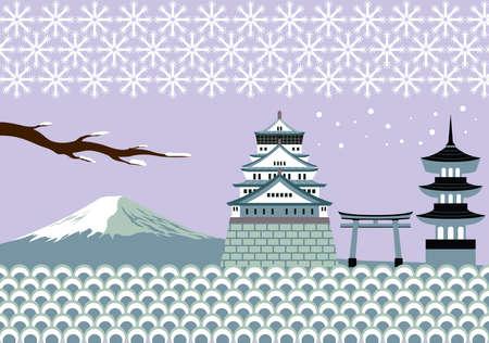 Japan Winter Landmark and Culture Vector