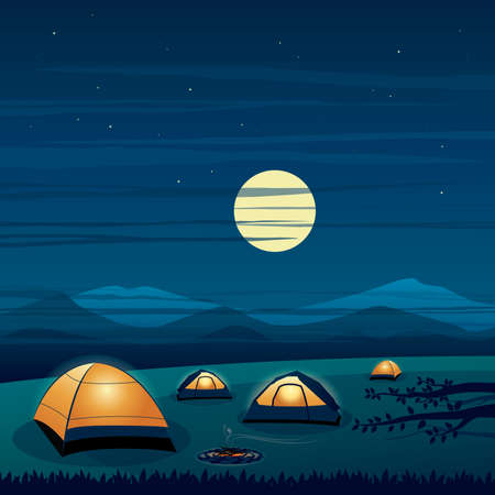 Camping on the Mountain Night Scene