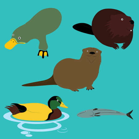 wild life: Lake River and Wild Life Animals Illustration