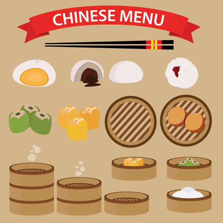 bun: Set of Chinese Food and Cuisine Illustration
