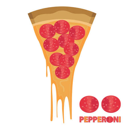 pepperoni: Piece of Cheese Pizza Pepperoni Illustration