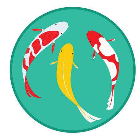 peces: Vista a�rea Fantas�a Carp vectorial Vectores
