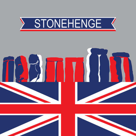 stonehenge: English Landmark StoneHenge with United Kingdom Flag