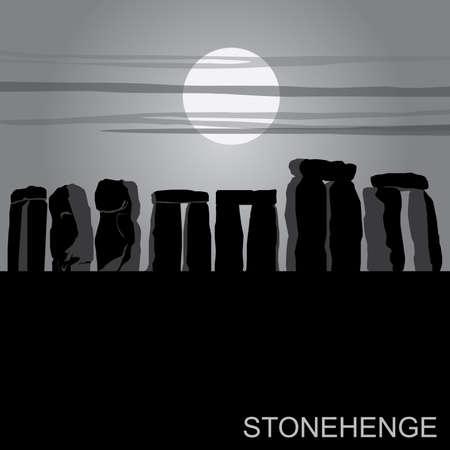 stonehenge: English Landmark StoneHenge Silhouette Landscape