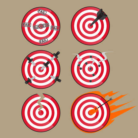 sports symbols metaphors: Target Goal and Success Illustration