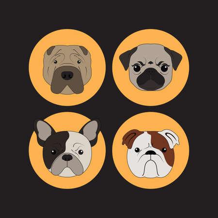 puppy cartoon: Dog and Puppy Set Bulldog Vector and Icon