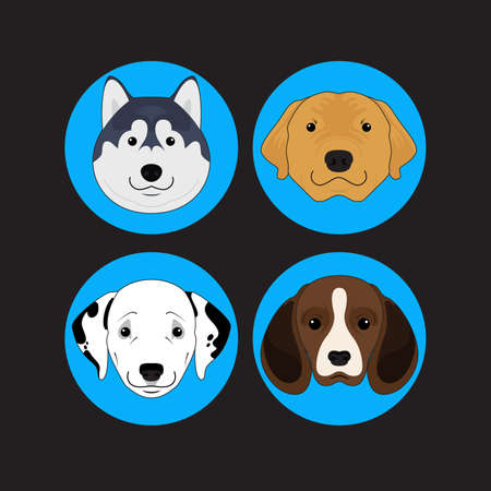 golden retriever puppy: Dog and Puppy Set Siberian Husky Vector and Icon