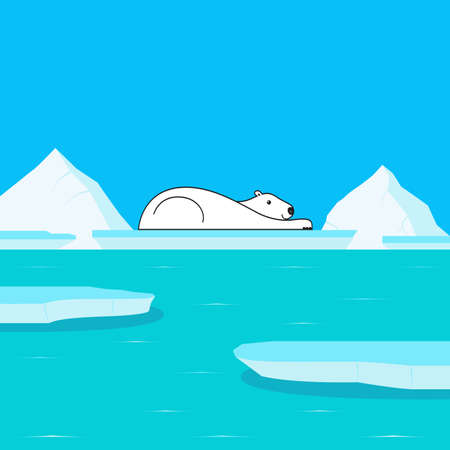 polar climate: Global Warming and Polar Bear on Glacier