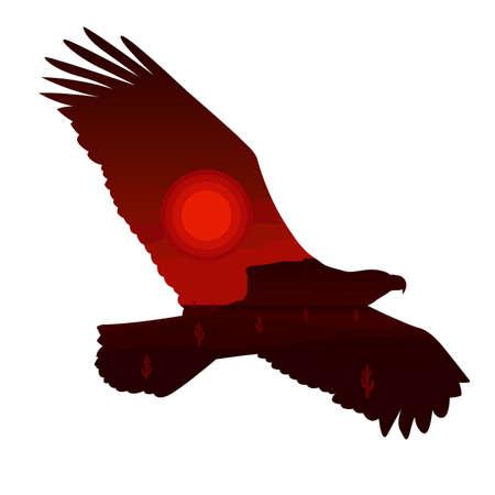 eagle canyon: Eagle Silhouette and Western Desert Landscape Illustration