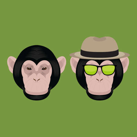 chimpanzee: Chimpanzee Monkey Head Illustration