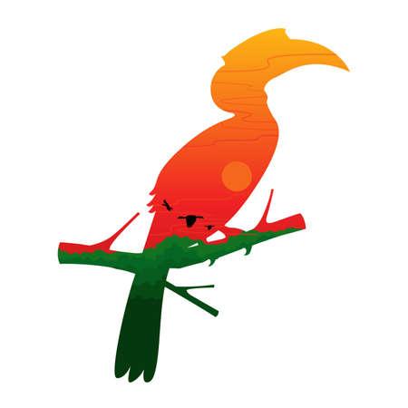 hornbill: Hornbill Bird Silhouette and Landscape Illustration