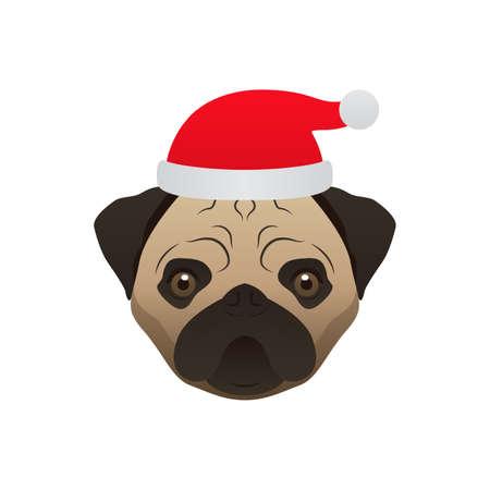merry christmas dog pug stock vector 67811554