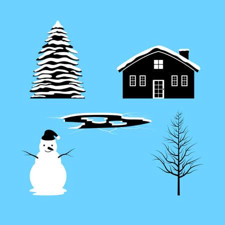 season: Winter Season and Icon Illustration