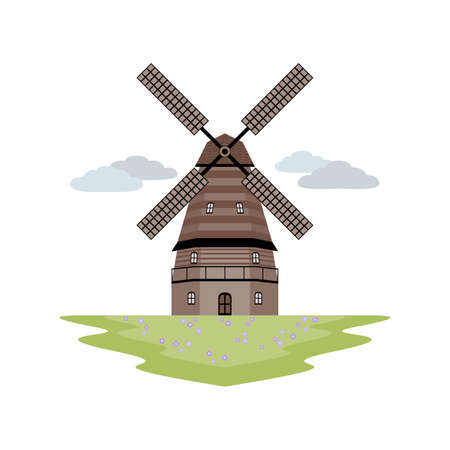 Windmill Landscape Illustration