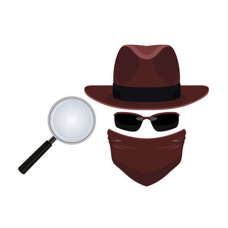 Spy and Detective Investigation Vector and Icon Illustration