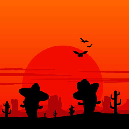 Cowboy and Mexican Cactus Landscape Silhouette Illustration