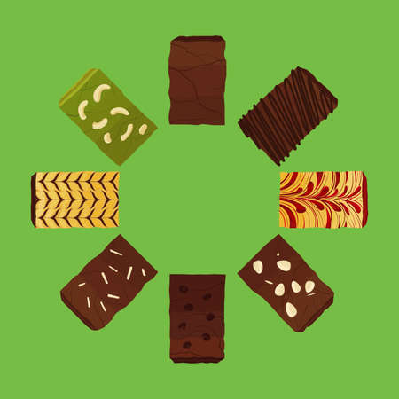 Set of Brownies Vector and Icon Illustration