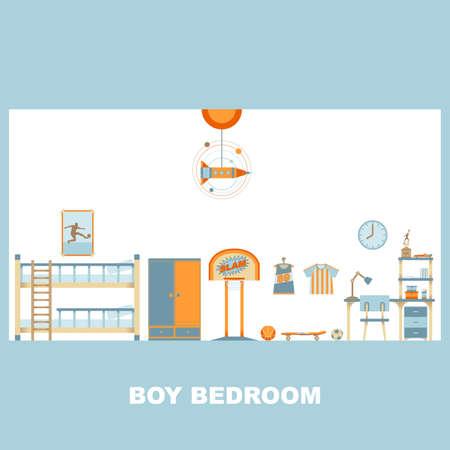 Boy and Kid Bedroom Interior Decoration Vector Illustration
