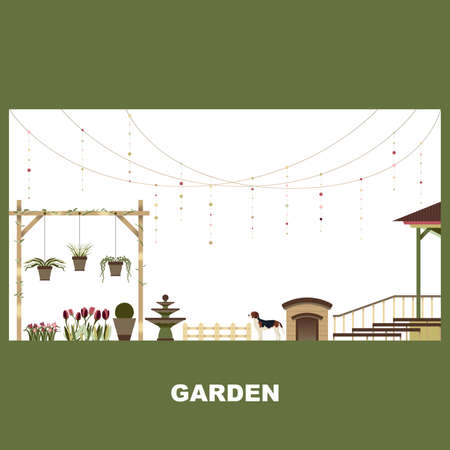 Home Garden Exterior Outdoor Landscape Vector