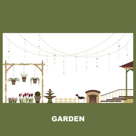 Home Garden Exterior Outdoor Landscape Vector