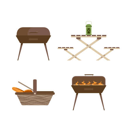 Camping picnic inventory and equipment. Isolated set on white background. Illustration