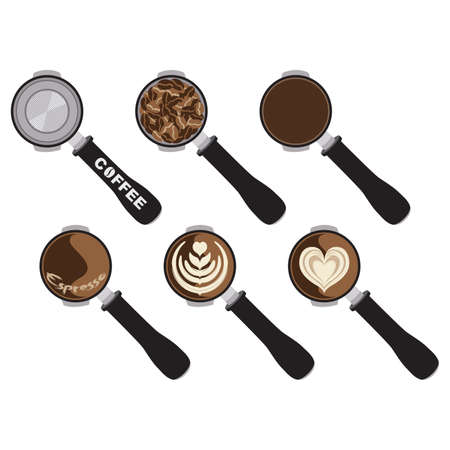 Barista Tool Coffee with Latte Art Isolated Vector Illustration