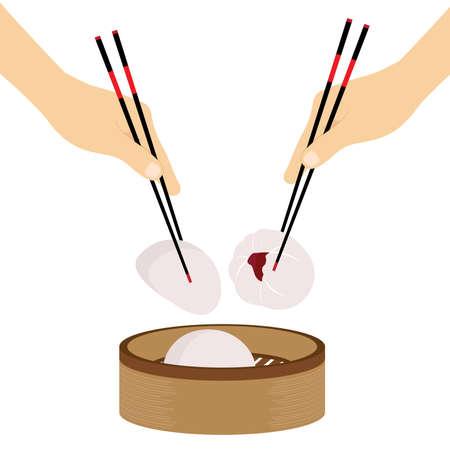 Hand Chopsticks Chinese food Steamed Bun Vector