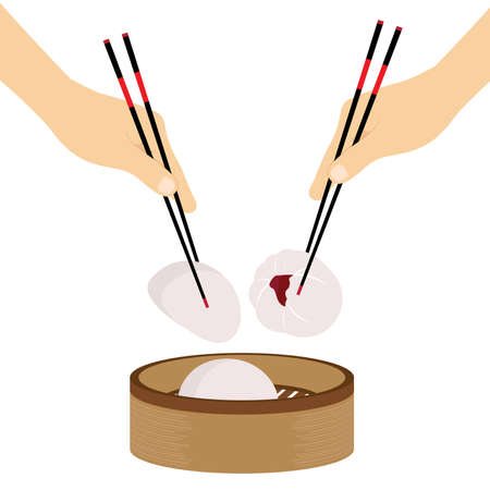 Hand Chopsticks Chinese food Steamed Bun Vector