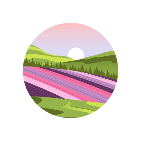 Japan Hokkaido Flower Field Landscape Vector and Icon
