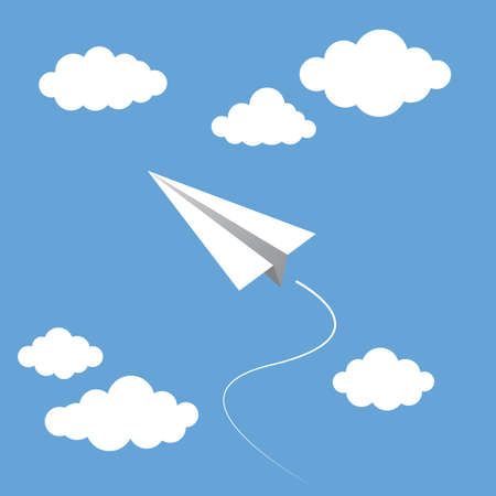 Rocket and Plane Paper Fly in the Sky Vector Illustration